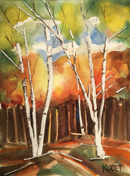 fall trees in watercolor